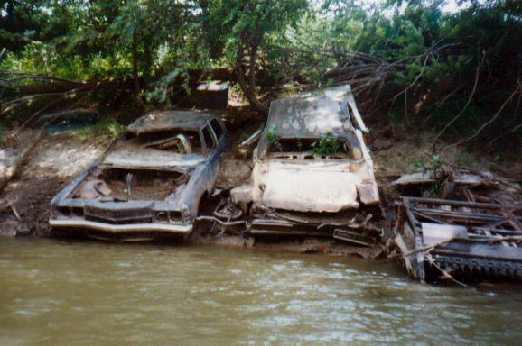 Sunken Cars Reading the river can also
